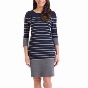 Hilary Radley Stripped Blue & Grey Day Dress